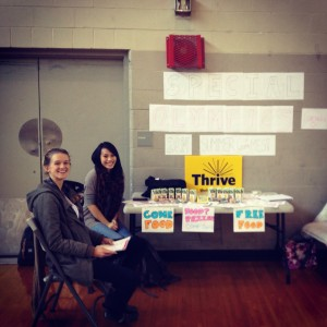 Rhiannon and Kimberley at our UBC Thrive Basketball Drop-in for the Special Olympics Canada 2014 Summer Games (November 2013)